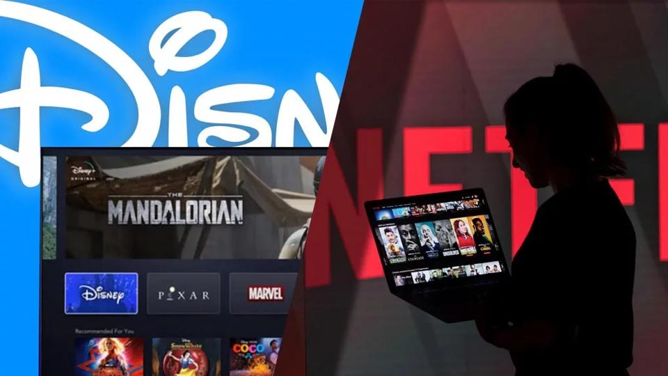 Disney+ / Netflix with Laptops and TV