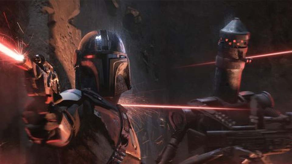 Image of Mando and Bounty Droid