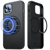 ESR Metro with HaloLock Leather Case - iPhone 13 Pro Max - MagSafe Compatible | Black