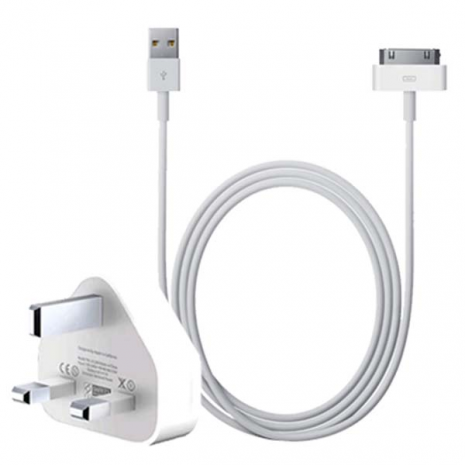 Genuine Apple 30-pin charger and Apple 30-pin to USB cable