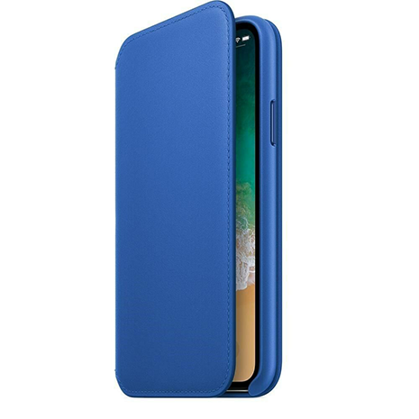 Official Apple Natural Leather Folio Case  | iPhone X | Electric Blue