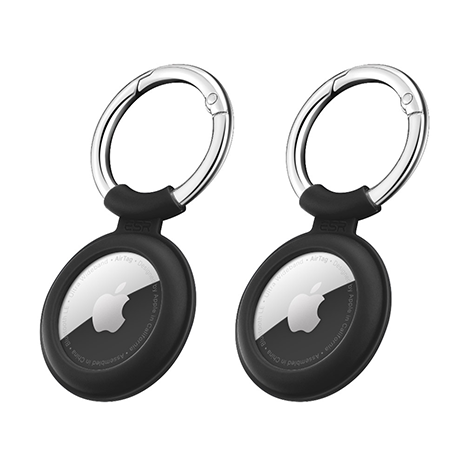ESR Cloud Silicone AirTag Keychain Holder - 2 Pack   Black